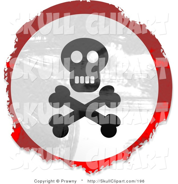 Clip Art of a Grungy Red, White and Black Circular Jolly Roger Skull and Crossbones Sign