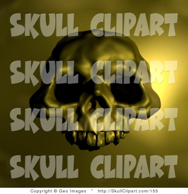 Clip Art of a Halloween Spooky Human Skull with Dark Eye Holes, over a Yellow Background