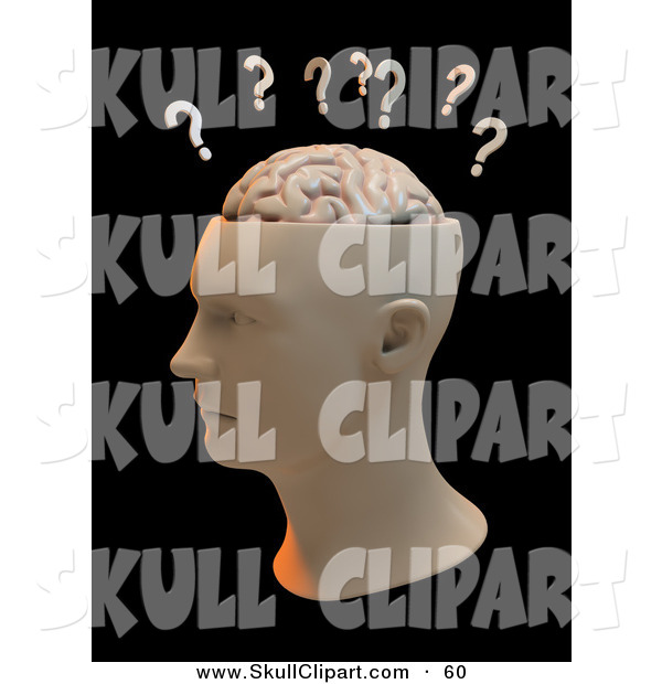 Clip Art of a Question Marks Above a Human Head with a Brain Facing Left