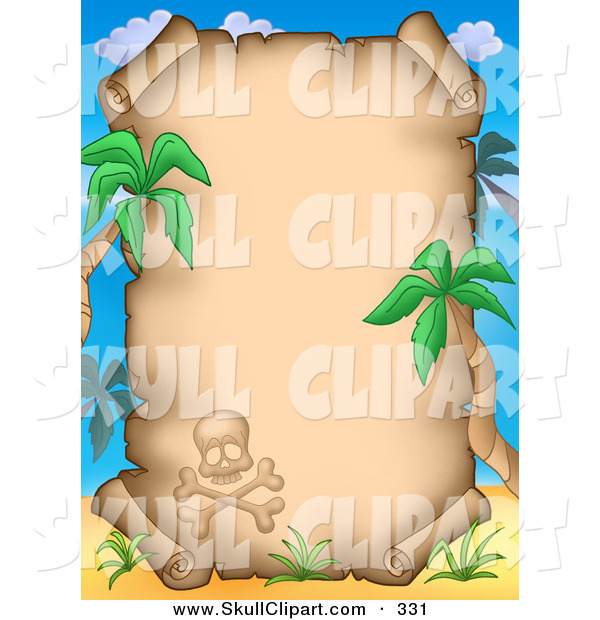 Clip Art of a Skull and Crossbones with Palm Trees Framing an Aged Parchment Page