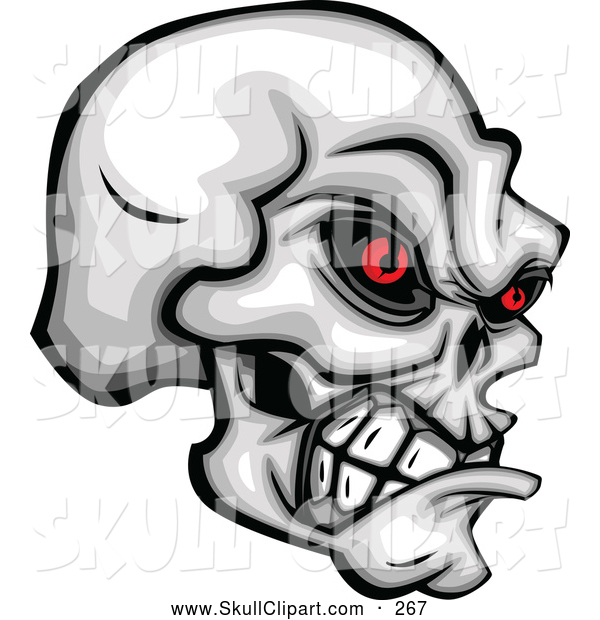 Clip Art of a Spooky Demonic Skull Clenching Its Jaw