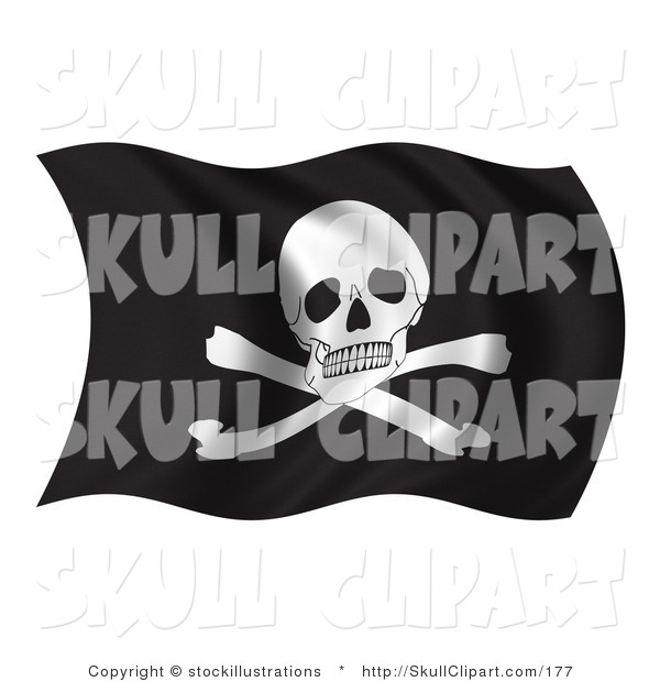 Clip Art of a Waving Pirate Flag