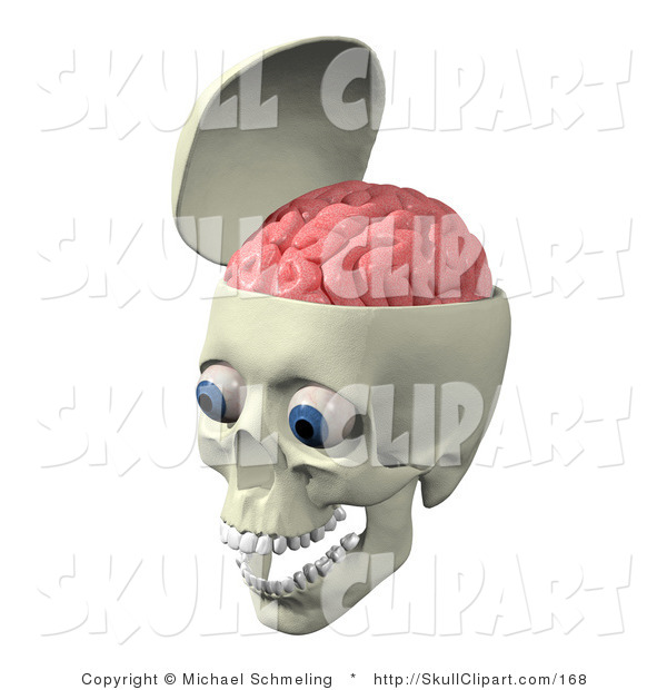 Clip Art of an Open Skull with the Pink Brain Exposed, Big Blue Eyes and Teeth in the Jaw