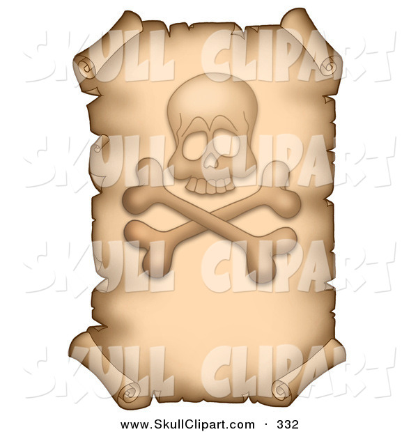 Vector Clip Art of a Aged Vertical Parchment Page with a Skull and Crossbones on White