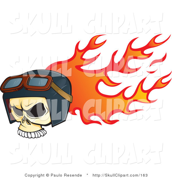 Vector Clip Art of a Biker Skull Wearing Goggles and a Helmet While on Fire