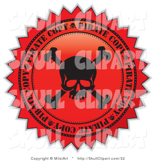 Vector Clip Art of a Black and Red Skull Pirate Copy Label Seal