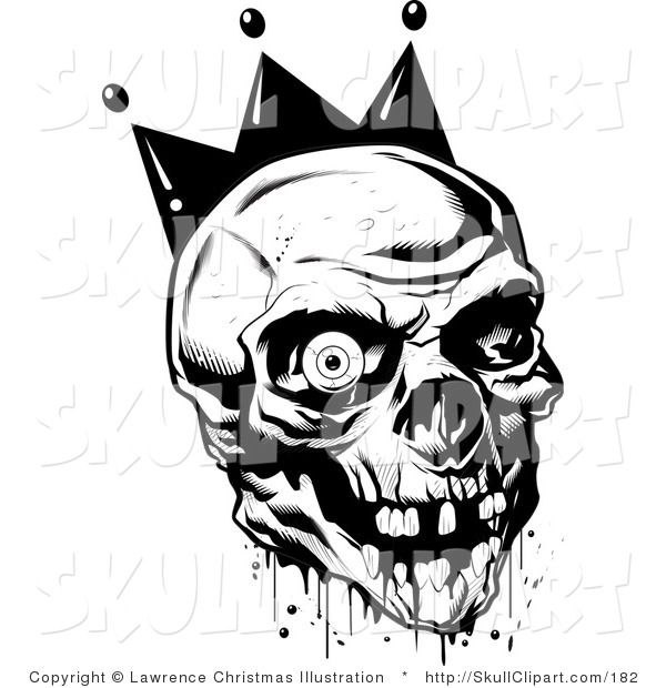 Vector Clip Art of a Black and White Bloody Joker Skull with Missing Teeth and One Eyeball