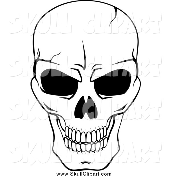 Vector Clip Art of a Black and White Cracked Grinning Skull