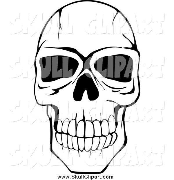Vector Clip Art of a Black and White Cracked Human Skull