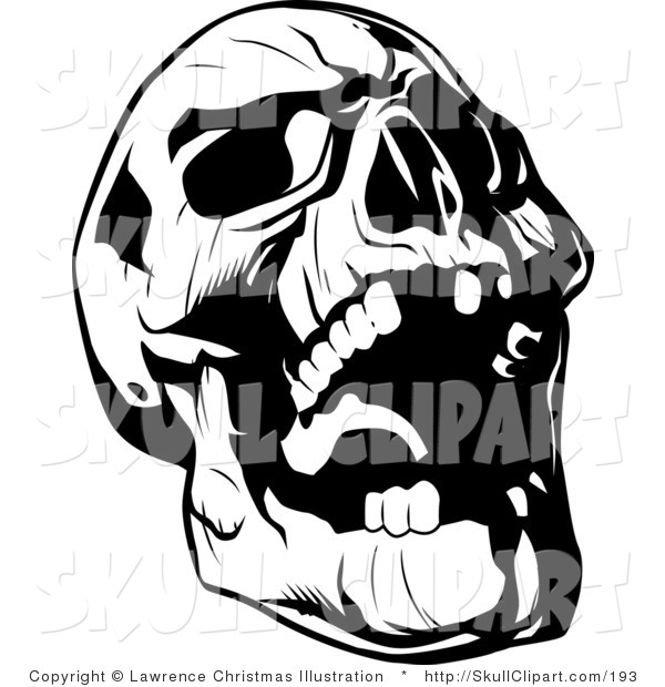 Vector Clip Art of a Black and White Evil Skull Tilting Its Head Back and Laughing