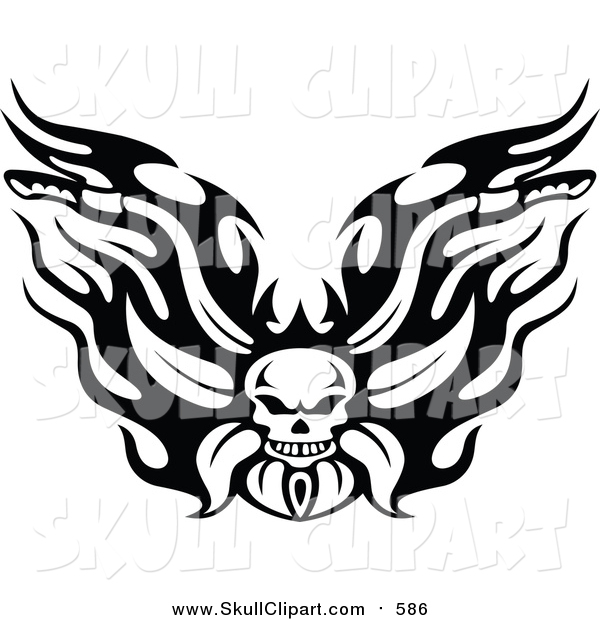 Vector Clip Art of a Black and White Fiery Skull Motorcycle Biker Handlebars