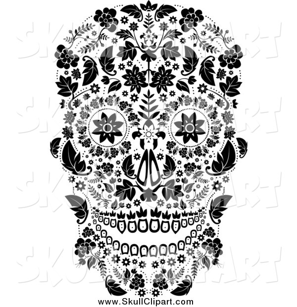 Vector Clip Art of a Black and White Floral Day of the Dead Skull