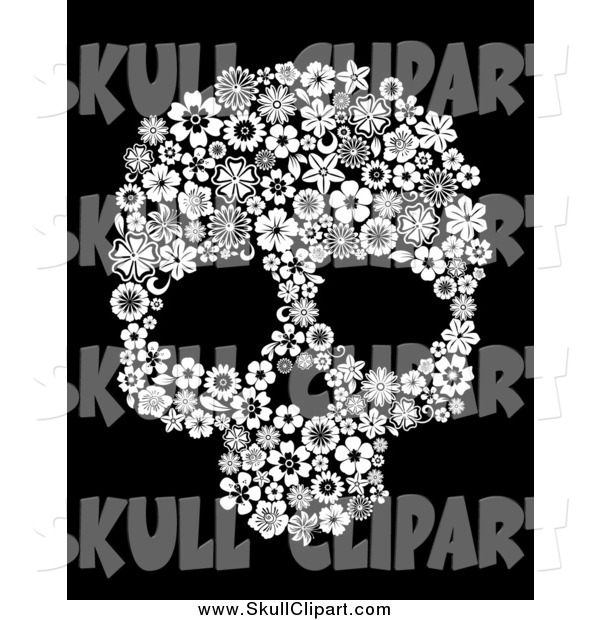 Vector Clip Art of a Black and White Floral Skull over Black