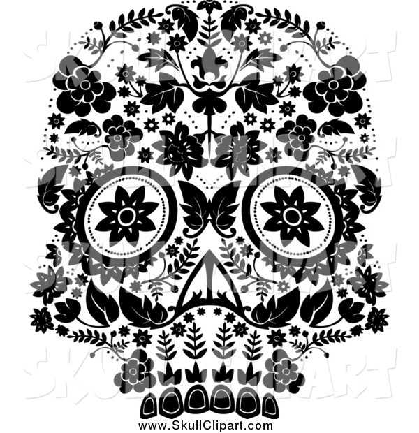Vector Clip Art of a Black and White Flowered Day of the Dead Skull