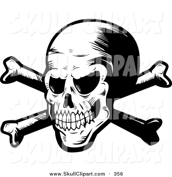 Vector Clip Art of a Black and White Mad Spooky Skull and Crossbones