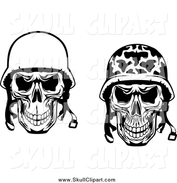 Vector Clip Art of a Black and White Military and Pilot Skulls with Helmet