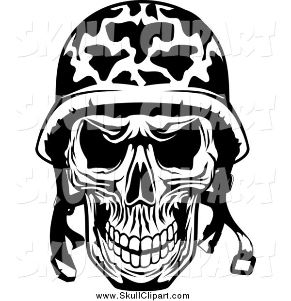 Vector Clip Art of a Black and White Military Soldier Skull