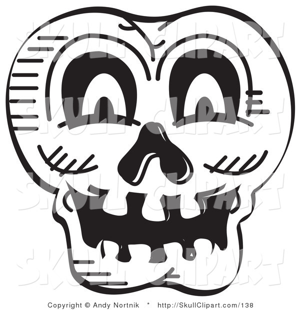 Vector Clip Art of a Black and White Scary Halloween Skull