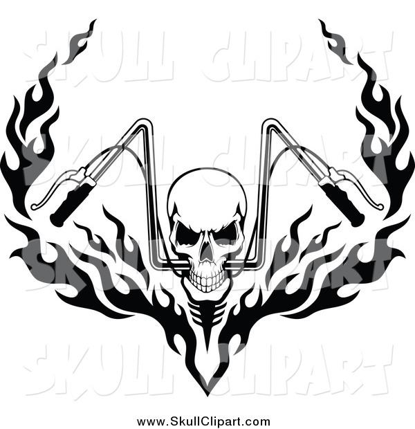 Vector Clip Art of a Black and White Skull and Flaming Motorcycle Handlebars