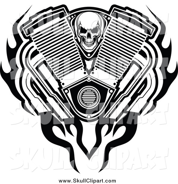 Vector Clip Art of a Black and White Skull, Engine Flames and Mufflers