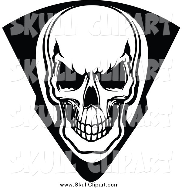 Vector Clip Art of a Black and White Skull in a Shield