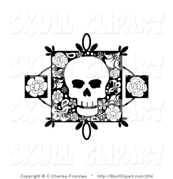 Vector Clip Art of a Black and White Skull on a Floral Square with Two Rose Accents