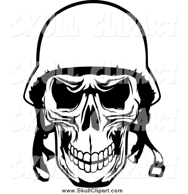 Vector Clip Art of a Black and White Tough Pilot Skull with a Helmet