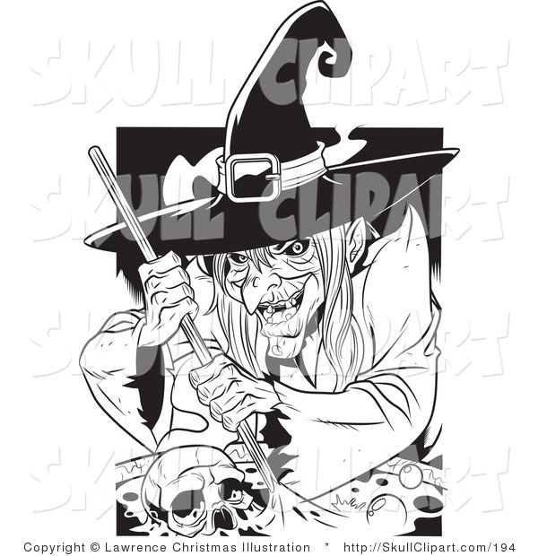 Vector Clip Art of a Black and White Ugly Warty Witch Grinning While Stirring a Skull and Potion in a Spell Cauldron