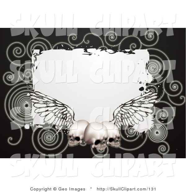 Vector Clip Art of a Black Border Around a White Square with Spirals and Three Human Skulls with Wings