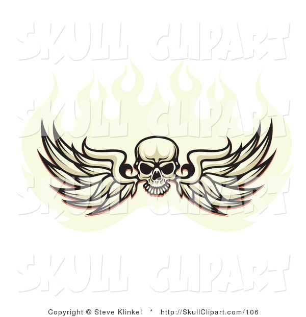 Vector Clip Art of a Black Human Skull Spanning Feathered Wings and Flying in a Ball of Fire, on a White Background
