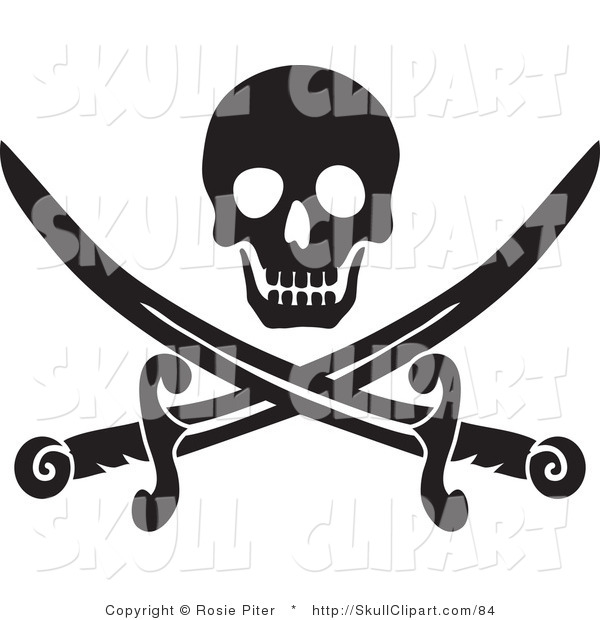 Vector Clip Art of a Black Skull over Crossed Pirate Swords on a White Background