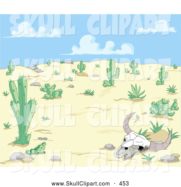Vector Clip Art of a Bleached Cow Skull in a Dry Desert Landscape
