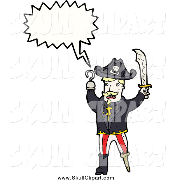 Vector Clip Art of a Blond White Male Pirate with a Wooden Leg Conversation Bubble