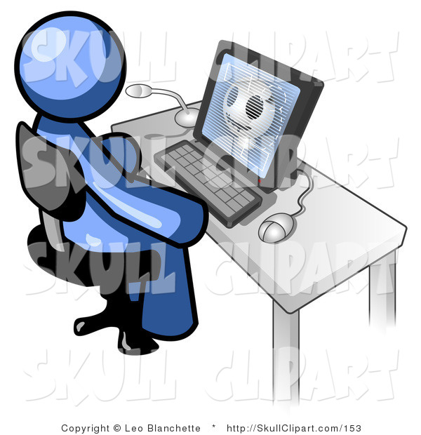 Vector Clip Art of a Blue Doctor Man Sitting at a Computer and Viewing an Xray of a Patient's Head