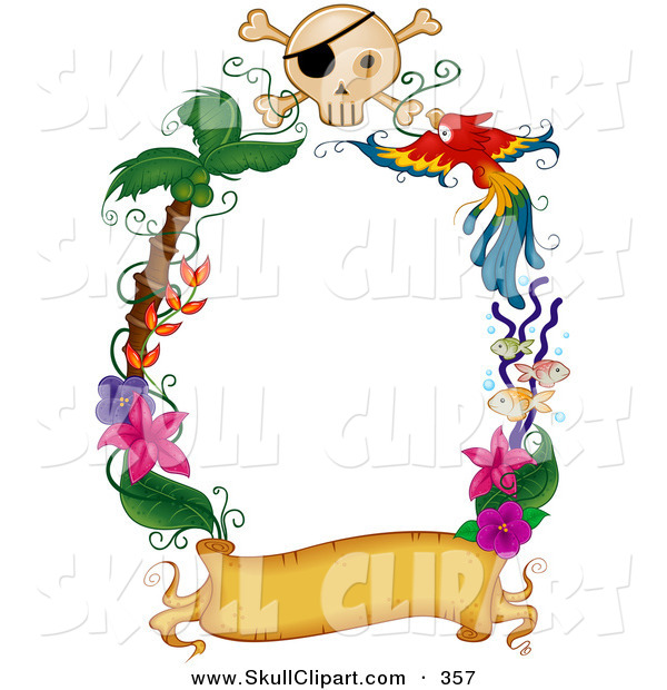 Vector Clip Art of a Border of a Blank Golden Banner with Palm Trees, Flowers a Parrot and Skull