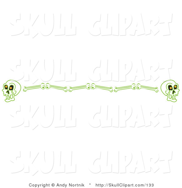 Vector Clip Art of a Border of Green Human Skulls and Bones Clipart Illustration