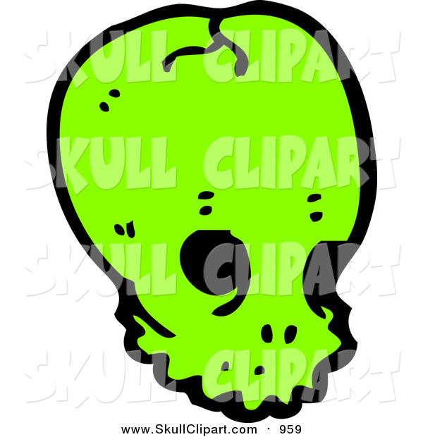 Vector Clip Art of a Bright Green Alien Skull