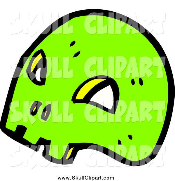 Vector Clip Art of a Bright Green Skull