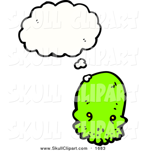 Vector Clip Art of a Bright Green Skull with a Conversation Bubble