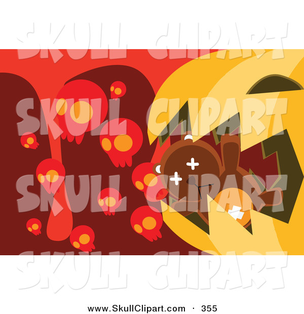 Vector Clip Art of a Brown Teddy Bear in a Giant Pumpkin's Mouth with Skulls and Blood