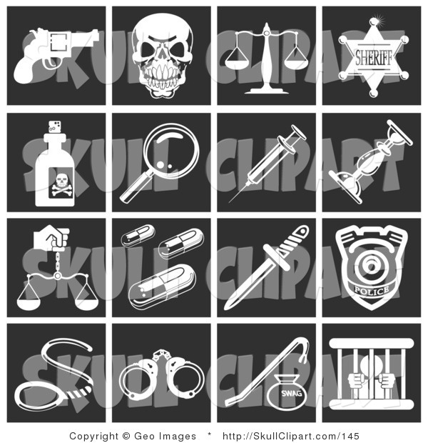 Vector Clip Art of a Collection of Sixteen White Crime Icons over a Black Background, Including a Pistil, Skull, Scales, Sheriff Badge, Poison, Magnifying Glass, Needle, Candlestick, Pills, Knife, Police Badge, Handcuffs, and Prisoner