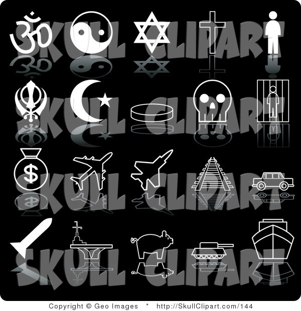Vector Clip Art of a Collection of Twenty Black and White Icons of Religious Symbols, Ying Yang, Cross, Person, Crescent Moon, Skull, Prison, Moneybags, Airplanes, Train Tracks, Car, Pig, Tanker and Ship, on a Black Background