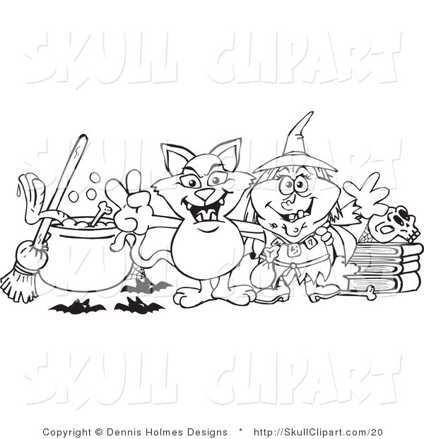 Vector Clip Art of a Coloring Page of a Witch and Her Cat by a Cauldron, Broom and Skull on Books