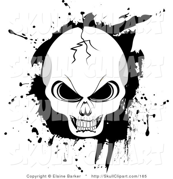 Vector Clip Art of a Cracked Evil Human Skull with Black Grunge Background