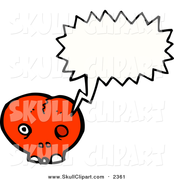 Vector Clip Art of a Cracked Red Skull Speaking