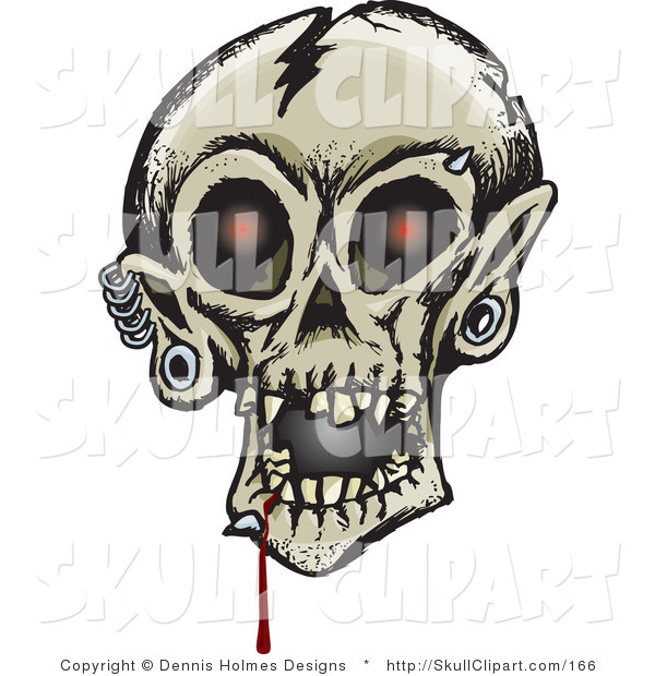 Vector Clip Art of a Creepy Cracked Human Skull with Glowing Red Eyes, Dripping Blood and Eyebrow, Chin and Ear Piercings