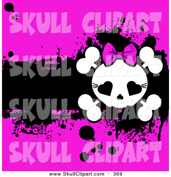 Vector Clip Art of a Cute Girly Skull and Cross Bones over a Grungy Black and Bright Pink Background
