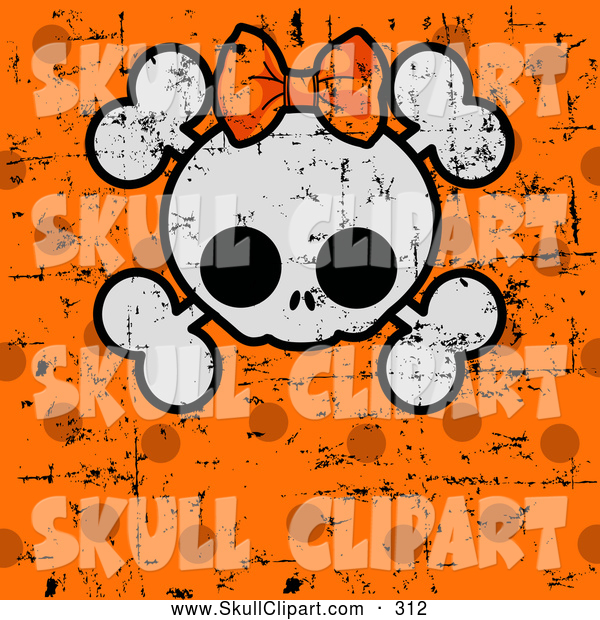 Vector Clip Art of a Cute Halloween Skull and Cross Bones with a Bow over Grungy Orange Polka Dots