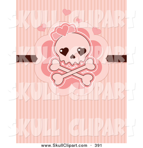 Vector Clip Art of a Cute Skull and Crossbones with Pink Hearts over Pink Lines