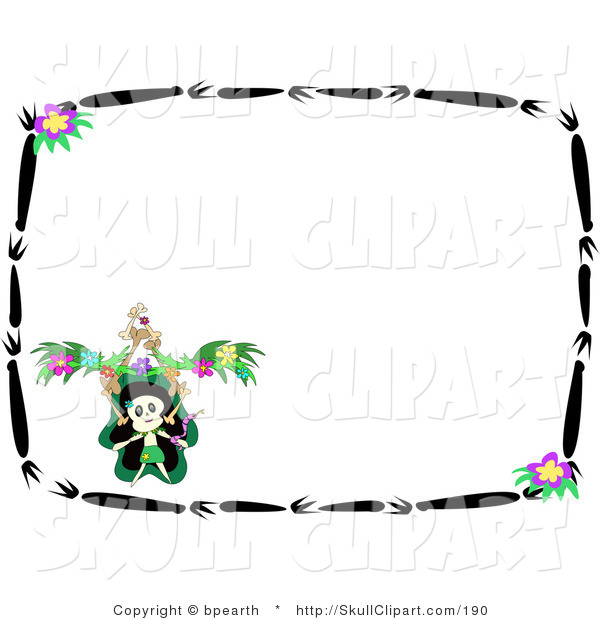 Vector Clip Art of a Dancing Skeleton Doing a Jig in the Corner of a Stationery Background with a Border of Black Branches and Purple Flowers